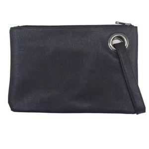 Black Leather Wristlet Clutch Purse